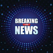 Live Breaking News headline in blue dotted color background