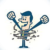Man breaking chains