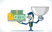 Businessman holding tray with money