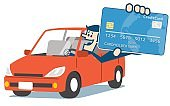Man in car and credit card