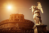 Angel statue on bridge by Castel Sant`Angelo, Rome
