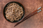 Buckwheat soba noodles - a traditional dish of Asian cuisine. Selective focus