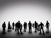 Group of various people silhouettes. Society, community, diversity