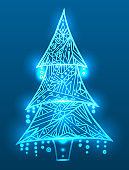 Christmas tree with doodle pattern and sparks. Boho pattern.
