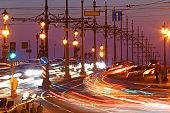 Saint-Petersburg. Russia.Traffic on bridge at night.
