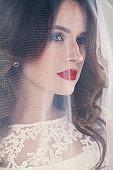 Pretty Woman Fiancee with White Veil