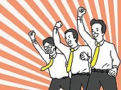 Celebrating businessman team