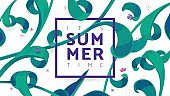 Summer time banner vector design with black text SUMMER, square frame and color flowers.