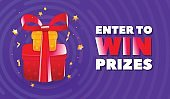Abstract enter to win banner with illustration of red gifts with ribbon and golden stars decoration.
