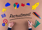Business Concept-Recruitment word with colorful icons