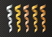 Set of  realistic  golden , silvery, copper  ribbons  serpentine.