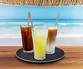 cold drinks by seaside