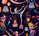 Circus seamless pattern. Acrobat, clown, carnival show actors vector. Retro circus pattern vintage style