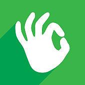 Green Okay Hand Icon