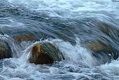 Stream water flowing past stones.