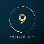9 Years Anniversary icon with  Gold and Silver Multi Linear Number in a Golden Circle , Isolated on Dark Background