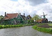 Beautiful Traditional Dutch Village in Zaanse Schans, the Netherlands