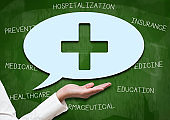 Nurse holding speech bubble / Green board - HEALTHCARE concept (Click for more)