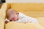 Portrait of cute adorable newborn baby child sleeping