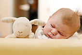 Portrait of cute adorable newborn baby child sleeping