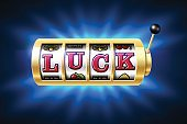 Slot machine with Luck word on it
