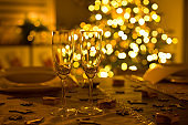 Christmas in GLR - two empty champagne glasses on christmas eve