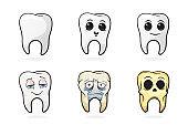 Set of cartoon human tooths