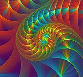 Colorful nautilus sea shell. Abstract fractal golden spiral. Fibonacci background