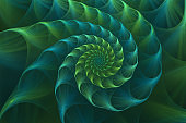 Abstract fractal blue and green nautilus sea shell