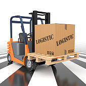 Forklift Truck with Logistic Box on pallet