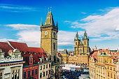 Cityscape of Old Town Square and Astronomical Clock Tower in Prague