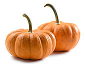 Ripe orange organic pumpkins isolated on white background