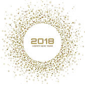 New Year 2018 Card Background. Gold Light Halftone Christmas Circle Frame using snowflake confetti circle dots texture isolated on white backdrop. Vector illustration.