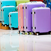 Group of suitcases in the supermarket