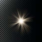 Vector illustration of a glowing light effect with rays and lens flares
