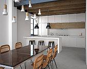 Kitchen interior in loft style