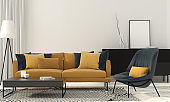 Stylish living room with a yellow sofa