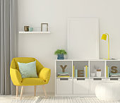 Mock up interior with a yellow armchair