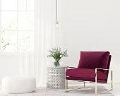 Burgundy armchair in white interior