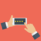 People hand giving rating star on mobile phone. Rating and customer review feedback concept