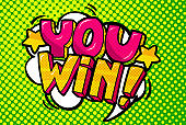 You Win Message in pop art style