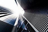 Manhattan office building from below