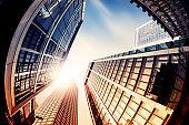 Office skyscraper Reflection in the sunlight