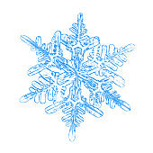 Blue snowflake on white background
