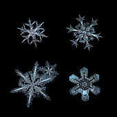 Snowflakes isolated on black background