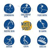 Stick people styled winter sports vector icons. Great as Winter Sports information materials templates.