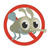 No Bugs or No mosquitoes sign made in a cartoon style.