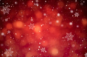 Abstract red glitter bokeh and snowflake. concept christmas and new year for background.