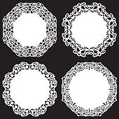 Set of design elements, lace round paper doily, doily to decorate the cake, template for cutting, snowflake, greeting element, metal plate cut by laser,  vector illustrations