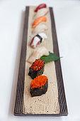 Mixed Sushi Set on the Stone Plate.